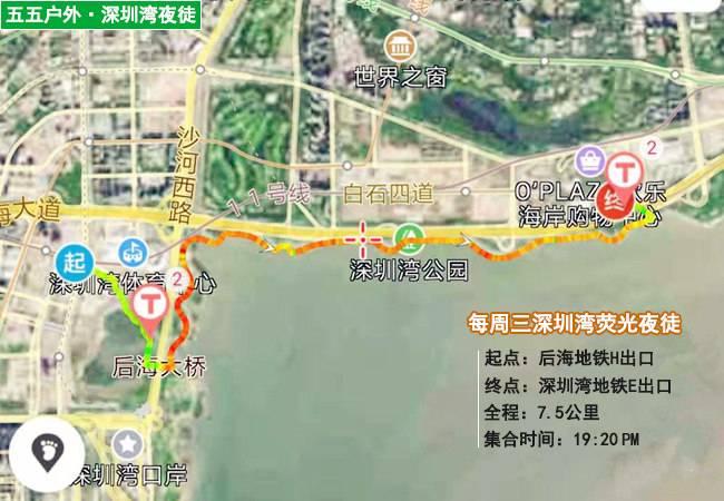 五五户外每周三深圳湾荧光夜徒